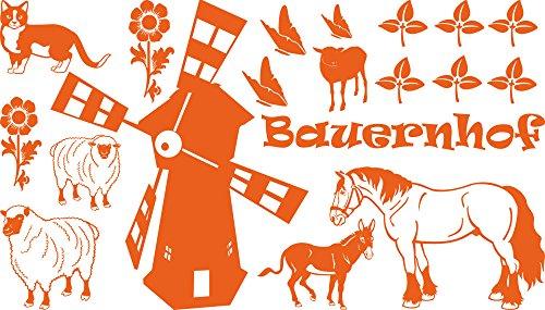 GRAZDesign muurtattoo kinderkamer boerderij dieren kinderen - wandsticker wanddecoratie jeugdkamer molen paarden kat / 770070 035, pasteloranje