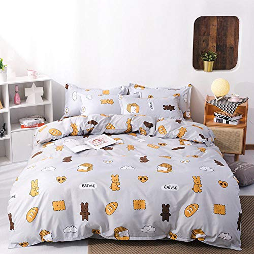 Bwvvseso 3D Duvet Cover Cartoon Bread Sandwich Individual 135 X 200 Cm Set With 2 Pillowcase(50X75Cm) Quilt Bedding Set Bedroom For Christmas And New Year Decoration