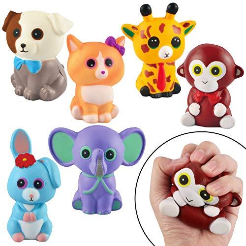 JOYIN 6 Stück Squishy Spielzeug, Tiere Squisies Set Langsam Stressabbau, Soft Squeeze Toys für Kawaii Party Kinder Erwachsene