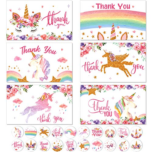 24 Pieces Thank You Cards with Envelopes and Round Stickers Unicorn Thank You Note Cards Gratitude Cards for Kids, Thanks Greeting Cards Baby Shower Unicorn Party Supplies Classroom Exchange Favors