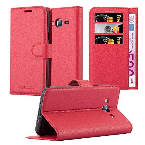 Cadorabo Custodia Libro per Samsung Galaxy J3 / J3 DUOS 2016 in ROSSO CARMINIO - con Vani di Carte, Funzione Stand e Chiusura Magnetica - Portafoglio Cover Case Wallet Book Etui Protezione
