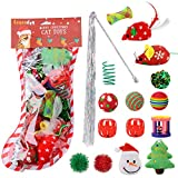 Legendog Cat Toys 16PCS Cat Christmas Toys Set Kitten Toys Cat Toys for Indoor Cats Mice Toy Cat Teaser Wand - Christmas Stocking Gift for Cats