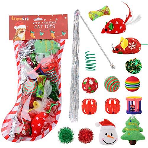 Legendog Weihnachten Katze Spielzeug Set, 16 STÜCKE Spielzeug Interaktive Katze Ball Spielzeug Mäuse Spielzeug Katze Teaser Zauberstab