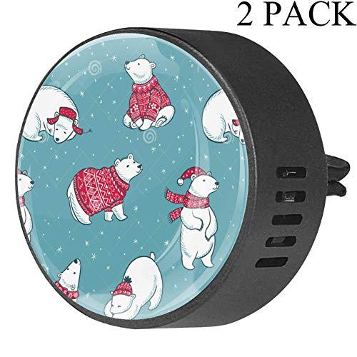 TIZORAX Christmas Scarf Hat ijsbeer 2-pack luchtverfrisser voor auto diffuser etherische olie voor kantoor car room 4x1.6x2.1 cm White Musk