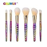 FBGood Juego de 6 Pinceles de Maquillaje Profesionales para Sombras de Ojos, Color Dorado, Colorete, Base de Maquillaje, antiojeras, Kit de Pinceles