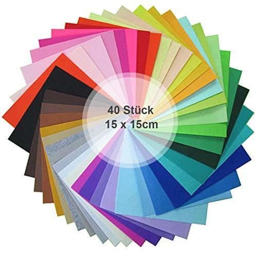 YEFAF Bastelfilz, DIY Filzstoff Filzplatten 40 Farben Bunter Filz Blätter für DIY Handwerk Nähen Projekte 15 x15cm