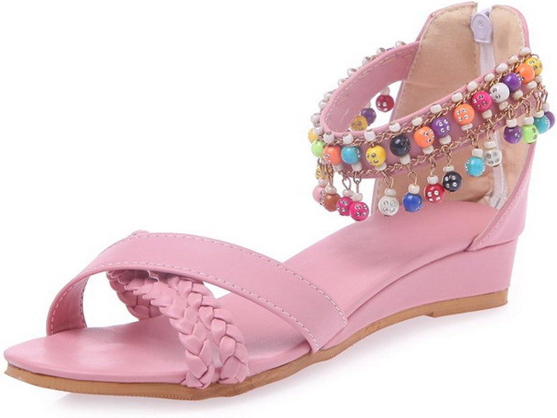 WeiPoot Women's Low-Heels Soft Material Solid Zipper Open Toe Wedges-Sandals