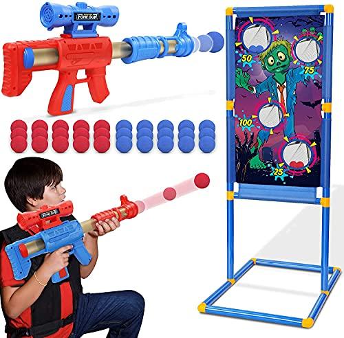 Otes 2 Pcs Juguetes de Tiro, Pistolas con Objetivo de Tiro Zombie, Pelotas Espuma, Juego de Disparos, Lanzador de Bolas para Niños Exteriores y Interiores