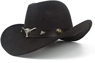 SHENTIANWEI Men Women Wool Western Cowboy Hat with Cow Head Leather Band Sombrero Hat Pop Wide Brim Jazz Church Hat Size 56-58CM