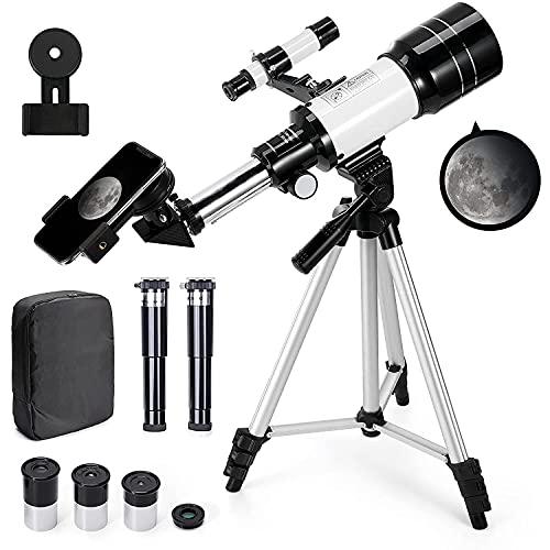Telescopio Astronomico 150X HD serie 300 70 mm di Ingrandimento con Treppiede, adatto a con Zaino e Adattatore per Smartphone per Adulti Bambini e Principianti - Ranipobo