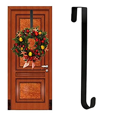 TQS Wreath Hanger Over the Door - Larger Wreath Metal Hook for Christmas Wreath front door Hanger 15  Black