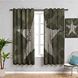 Western Khaki Camouflage Curtains for Bedroom Southwestern Military Print Patriotic Star Khaki Cream Man Cave Wall Western Decor Gifts Easy to Clean Husband W52 x L63 Inch