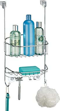 mDesign Modern Metal Wire Over The Bathroom Shower Door Caddy, Hanging Storage Organizer Center with Built-in Hooks and Baske