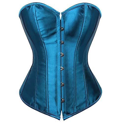 Vobery Corset Tops Mujer Corset Bustier Llingerie Tallas Grandes Overbust Deshuesado Cordones Satén Brocado De Novia Top(Azul,XXL)