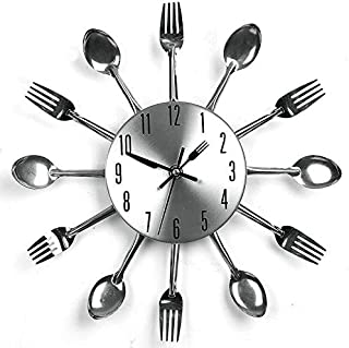 Adel store Wall Clock for Kitchen Modern Silver Cutlery Utensil Spoon Fork Clock Home Decoration Retro