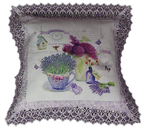 Raebel Kussensloop Lavendel Decoratieve kussensloop Haakpunt landelijke look cadeau-idee ca. 40 x 40 cm.