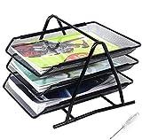 Gn Enterprises - Bandeja de almacenamiento de papel para documentos A4 de malla de alambre para oficina, 3 niveles