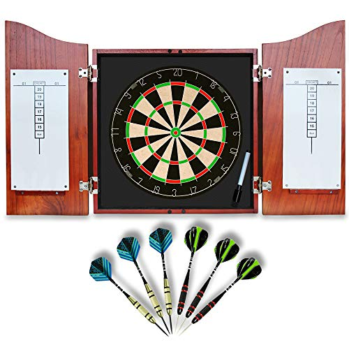 Dart Board with Cabinet Solid-Wooden Bristle Dartboard with 6 Steel Tip Darts, Dry Erase Scoreboard and Marker, Authentic Decor for Your Game Room