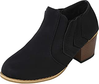 〓COOlCCI〓Women's Ankle Boots & Booties,Slip On Loafers Pointed Toe Chunky Block Low Heel Office Dress Casual Shoes Booties