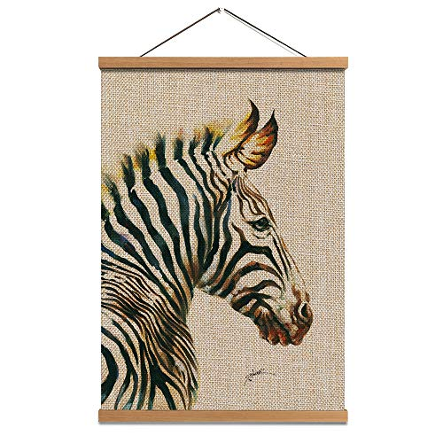 Zebra Hanging Poster- Linen Canvas Prints Wall Art - Animal Painting Zebra Picture with Scroll Teak Wood Hanger Ready to Hang for Wall Decor16x24inch