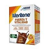MERITENE Sabor Chocolate, Fuerza y Vitalidad, Batido, Complemento Alimenticio, Vitaminas y Minerales, Sobres, Blanco, 15 Unidades