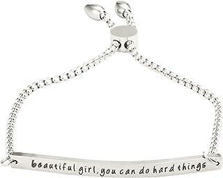 """A N KINGPiiN Pulsera de cadena ajustable con texto en inglés """"Beautiful Girl, You Can Do Hard Things"""", para regalo persona..."""