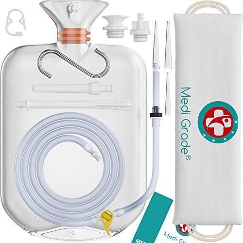Medi Grade Einlaufset für Intimreinigung für zu Hause - 2L Kapazität - 14 Stück - Enema Kit mit Wiederverwendbarer, Accessoire, Anleitung, tragbare Tasche und Mehr - 100% Transparent