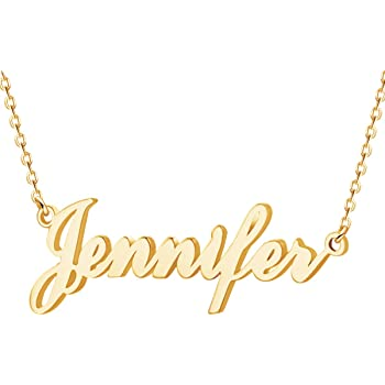 Custom Name Necklace Personalized,Name Plate Necklace 18K Gold Jewelry Gift for Women