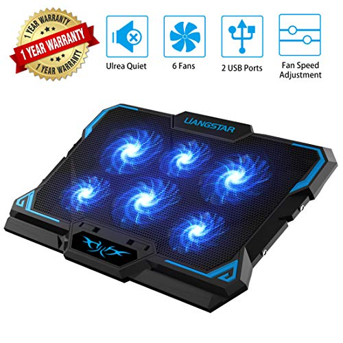 Laptop Cooling Pad, Laptop Cooler with 6 Quiet Led Fans for 15.6-17 Inch Laptop Cooling Fan Stand, Portable Ultra Slim USB Powered Gaming Laptop Cooling Pad, Switch Control Fan Speed Function