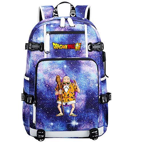 ZZGOO-LL Dragon Ball Super Son Goku/Vegeta IV/Master Roshi Anime Backpack Middle Student School Rucksack Daypack for Women/Men with USB-G