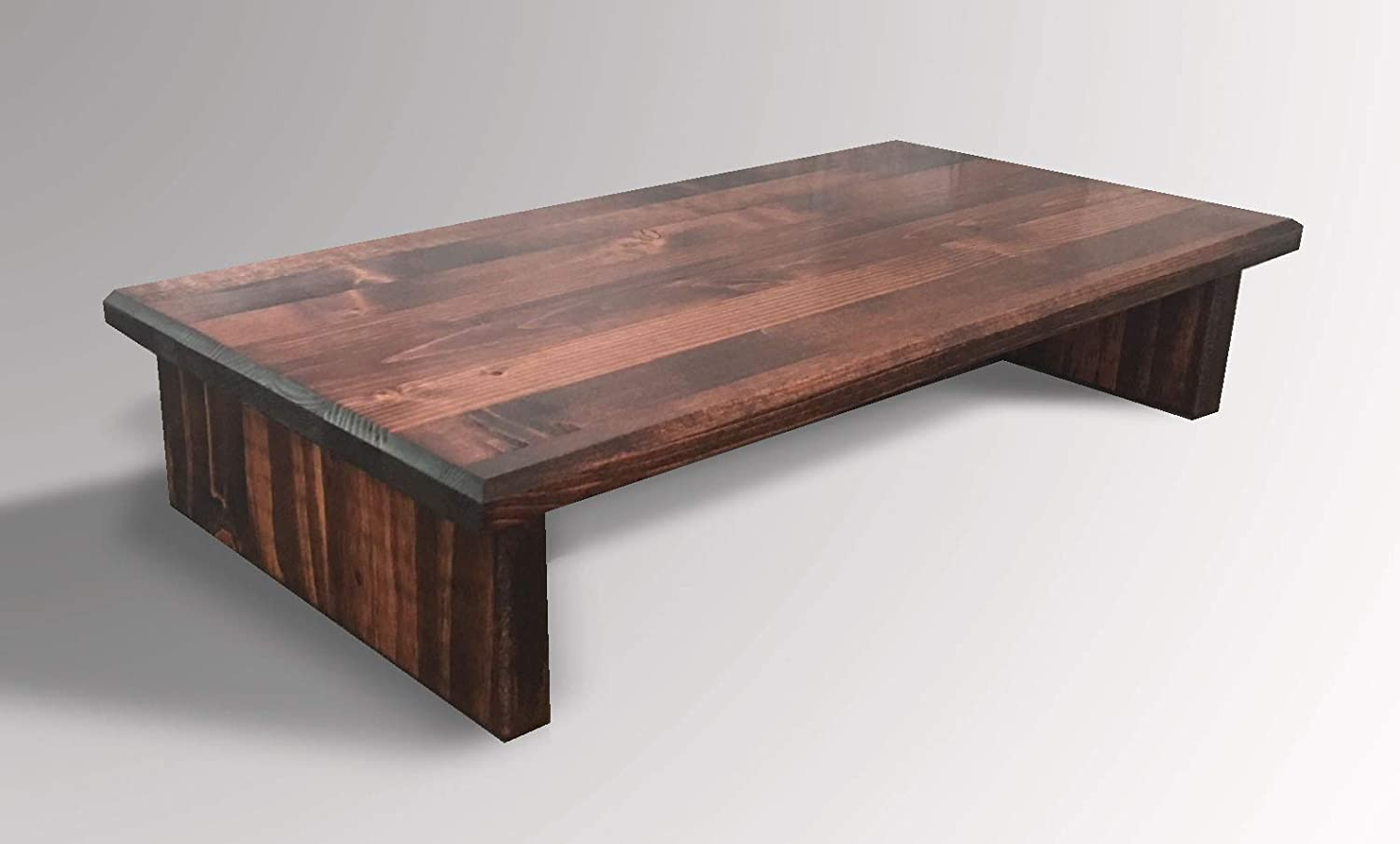 Monitor Stand P3/4RM20-4 Pine Red Mahogany 20 x 11.5 x 4.75 TV Wood Shelf Riser Furniture Desk Assembled Made in USA New