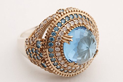 Turkish Handmade Jewelry Round Shape London Blue and Round Cut Topaz 925 Sterling Silver Ring Size Options