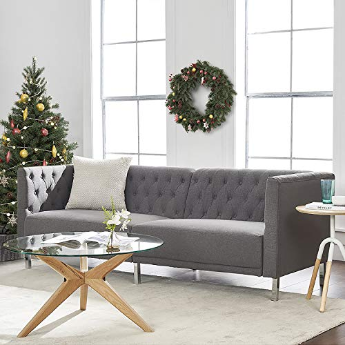 """mopio Aiden Modern Sofa, Contemporary Couch for Living Room, Tufted Design with Sturdy Chrome Legs and Classic Fabric Upholstery, 80.5"""" W, Dark Gray"""