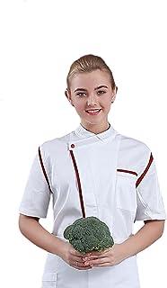 Senato Unisex Chef Coat, Short Sleeve, Chef Jacket, Stand-up Collar, White & Black & Wine Red & Blue Available, Sizes M to...
