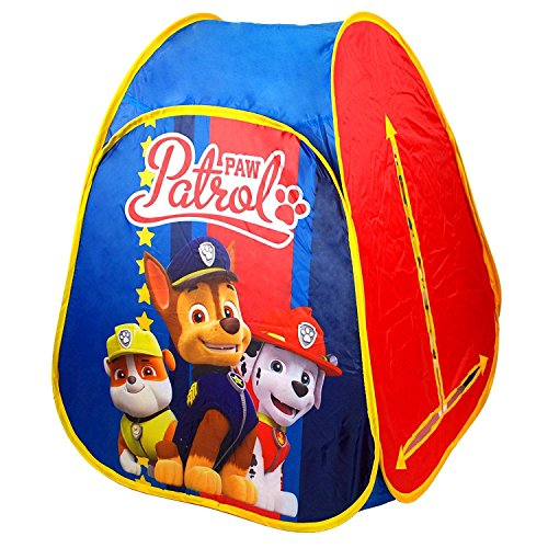 PAW PATROL Childrens Unisex Indoor & Outdoor Pop Up Tent Play Tent Childrens Folding Playhouse Wendy House featuring Chase, Marshall & Rubble characters.