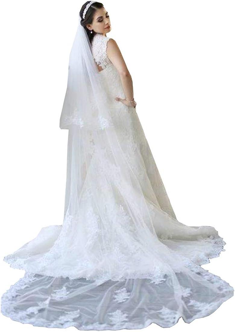 Kelaixiang 2T 2 Tiers Lace Appliqued Chapel Cathedral Bridal Veils