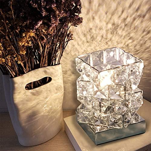 Lámpara de Mesa de Cristal, LHXY Lámpara Mesilla de Noche, Pantalla de Lámpara Plateada con Cristal K9,lamparitas de noche de decoración de dormitorio,para Sala de Estar, Dormitorio, Comedor