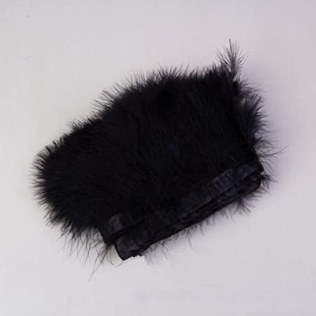 Ws/&Wt 2Meters 6-8Width Turkey Marabou Feather Fringe Trim for Decoration DIY Craft Costumes-Black