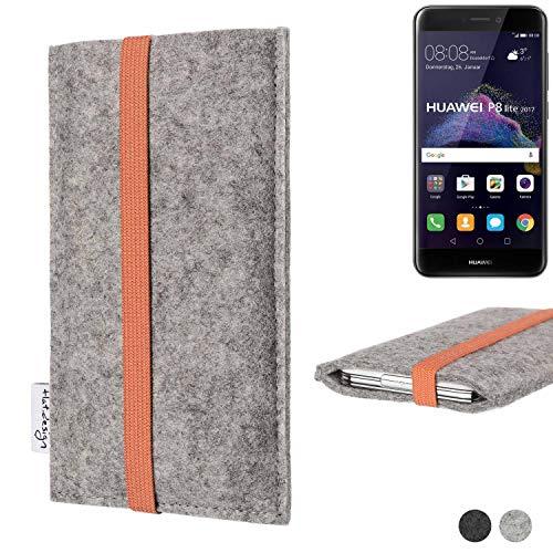 flat.design Handy Hülle Coimbra für Huawei P8 Lite 2017 Dual SIM - Schutz Hülle Tasche Filz Made in Germany hellgrau orange