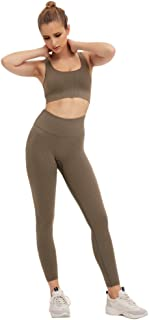 Shibel dress Yoga Outfits for Women 2 Piece Set Workout High Waist Athletic Seamless Leggings and Sports Bra Set Gym Clothes