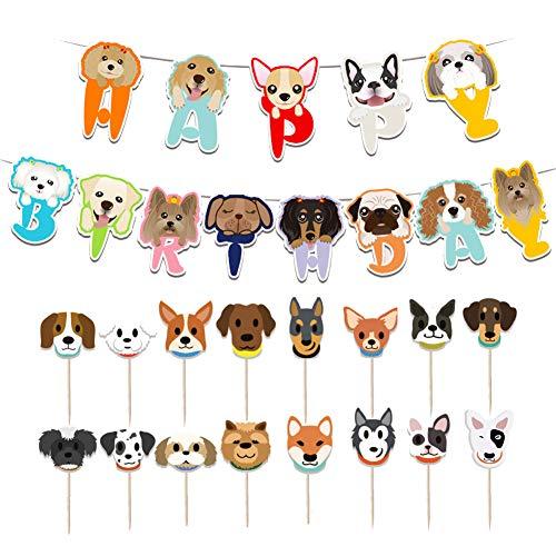 Boerni Decoración de cumpleaños para Perros, 13 Piezas de Pancarta de cumpleaños de Perro de...