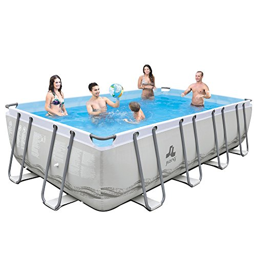 Jilong Mistral Grey Swimming Pool Set 549x305x122 cm mit Becken Pumpe Leiter Abdeckplane Bodenplane, Stahlrohr Schwimmbecken Stahlrahmen Schwimmbad Familienpool inkl. Zubehör