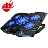 KEROLFFU Gaming Laptop Cooler 12-15.6inch 5-Fans 2500RPM Strong Wind,Dual USB 2.0 Ports, Adjustable Mount Stand …