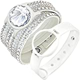 Swarovski Slake Deluxe Bracelet Set Activity Tracking Crystal Jewelry White #5225828