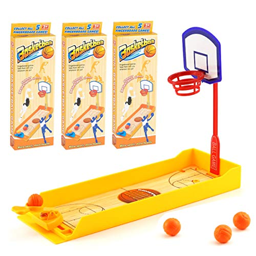 Neworkg 3 Pack Finger Basketball Shooting Game Toy, Desktop Table Basketball Games Set with Basketball Court, Fun Sports Novelty Toy for Stress Relief Killing Time
