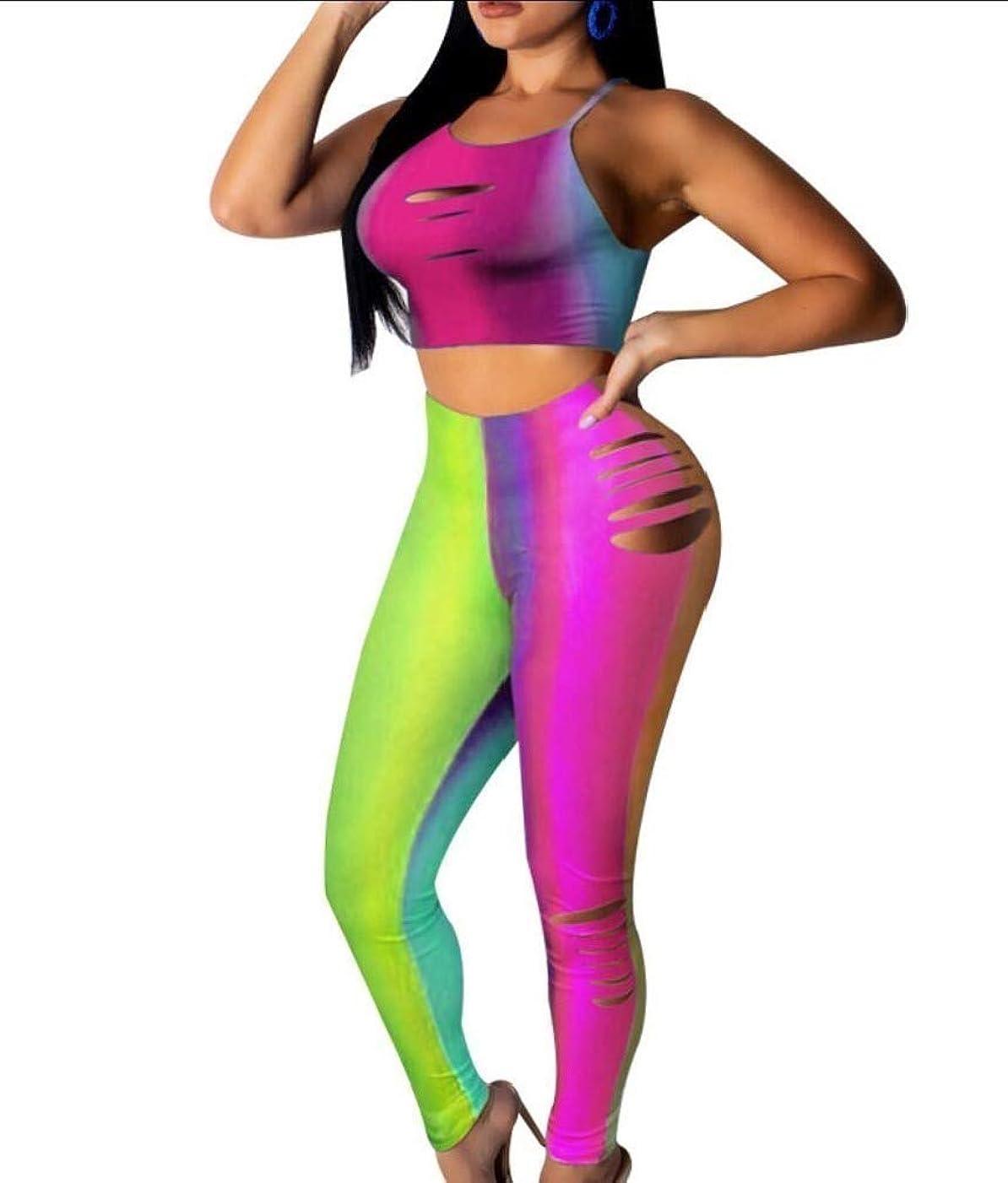 シール丁寧マーキーRomancly 女性キャミクロップトップとボディコンロングパンツ2ピース衣装ジャンプスーツ Green L