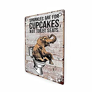 Sprinkles are for Cupcakes Not for Toilet Seats Bathroom Sign, Elephant Funny Retro Farmhouse Guest Bathroom Decor Sign Wall Art