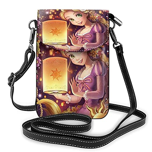 XCNGG Kleine Geldbörse Women's Small Crossbody Bag with Shoulder Strap,Princess Rapunzel Small Cell Phone Purse Wallet with Credit Card Slots