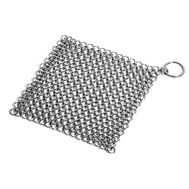 Hulufox Cast Iron Cleaner Hulufox 8  x 8  Premium Stainless Steel 316L Chainmail Scrubber for Cast Iron Pan Pre-Seasoned Pan Dutch Ovens Waffle Iron Pans Scraper Cast