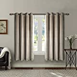 Singinglory Grey Velvet Curtains Pair 90x90 Drop, Thermal Insulated Heavy Eyelet 2 Panels with...